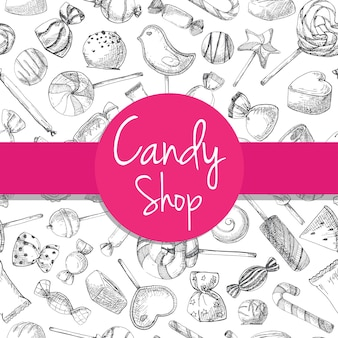 Hand drawn a seamless pattern with different sweets. vector illustration of a sketch style. seamless pattern for a shop with sweets.