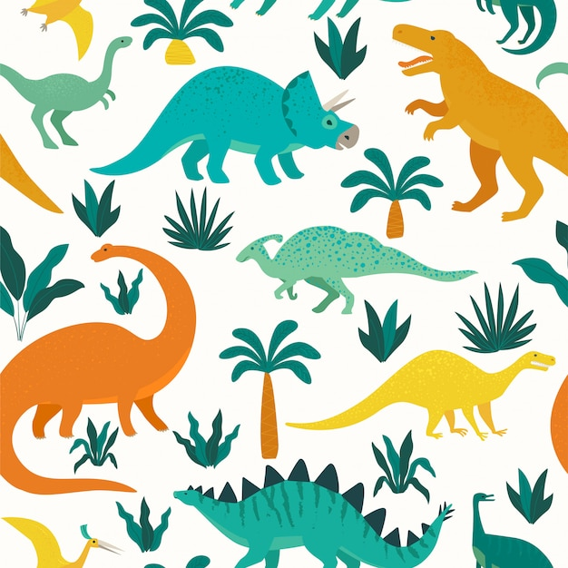 Hand drawn seamless pattern with dinosaurs and tropical leaves and flowers.