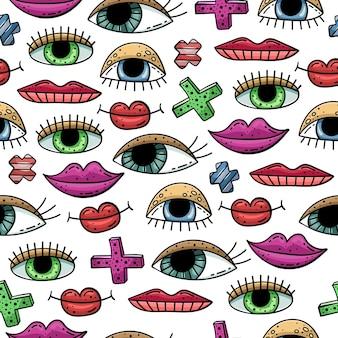Ручной обращается бесшовные модели с рисунками. глаза и губы.