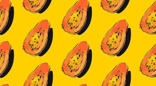 エキゾチックなトロピカルフルーツのパパイヤと手描きのシームレスパターン