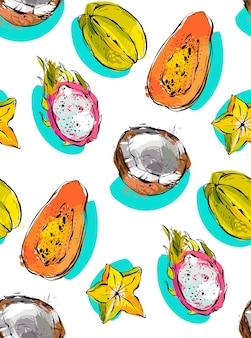 エキゾチックなトロピカルフルーツのパパイヤ、ドラゴンフルーツ、ココナッツ、ゴレンシと手描きのシームレスパターン