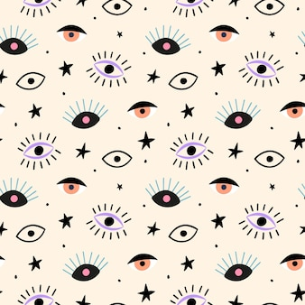 Hand drawn seamless pattern with eyes and stars