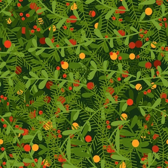 Hand drawn seamless pattern with fall or winter themed background red berries in green brances flat ...