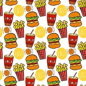 ファーストフードと手描きのシームレスなパターン。ストリートフードを食べる。フライドポテト、コーラ、ハンバーガーの背景。