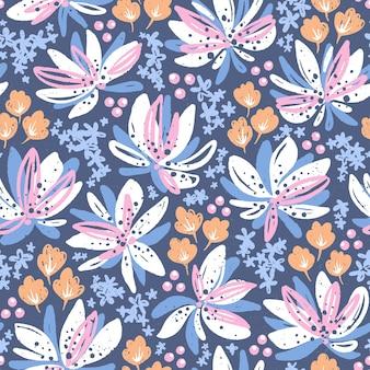 Ручной обращается бесшовные модели с цветами. красочные цветочные иллюстрации для бумаги и подарочной упаковки. текстурированный дизайн с принтом на ткани. творческий стильный фон.
