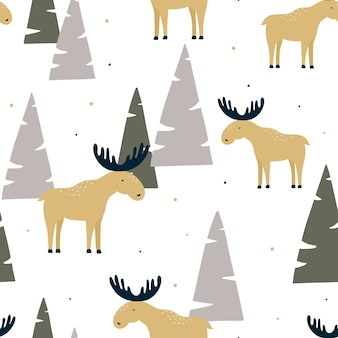Hand drawn seamless pattern with funny elk in a wood