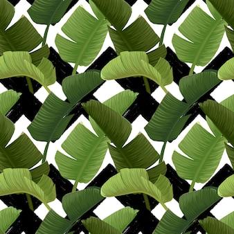 緑のバナナのヤシの葉と手描きのシームレスなパターン