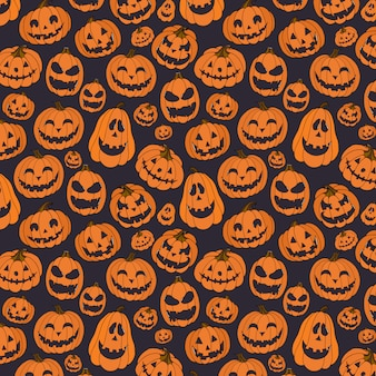 Hand drawn seamless pattern with halloween pumpkin