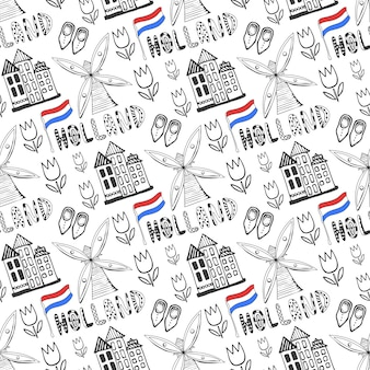 Hand drawn seamless pattern with holland culture elements. netherlands background for design. vector illustration.