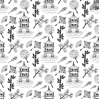 Hand drawn seamless pattern with japan culture elements, nature and architecture. japan background for design. vector