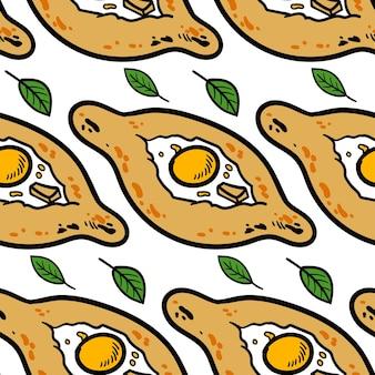 ハチャプリと手描きのシームレスなパターン。白い背景で隔離のベクトルスケッチイラスト