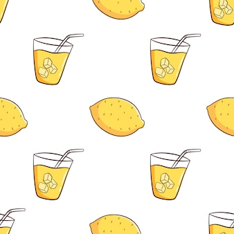 Hand drawn seamless pattern with lemon and lemonade
