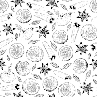 Hand-drawn seamless pattern with lemons, cinnamon sticks and anise star.