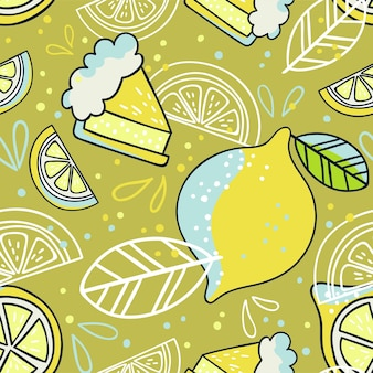 레몬과 함께 손으로 그린된 완벽 한 패턴입니다. 낙서 벽지 벡터입니다. 신선한 과일과 함께 화려하고 밝은 그림.
