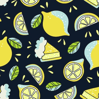 레몬과 함께 손으로 그려진 된 완벽 한 패턴입니다. 낙서 벽지