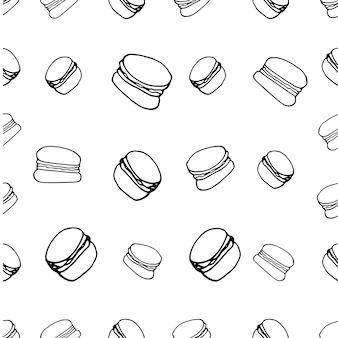 マカロンと手描きのシームレスなパターン