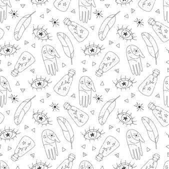 마법과 밀교 요소와 손으로 그린 원활한 패턴