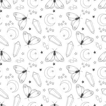 마법과 밀교 요소와 손으로 그린 원활한 패턴 프리미엄 벡터