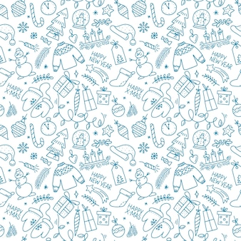 Hand drawn seamless pattern with  merry christmas bell ball candy angel snowman in doodle style