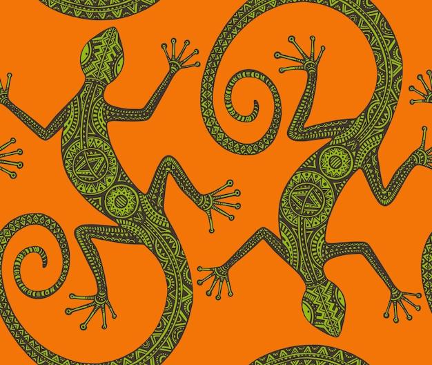 Hand drawn seamless pattern with monochrome lizard or salamander
