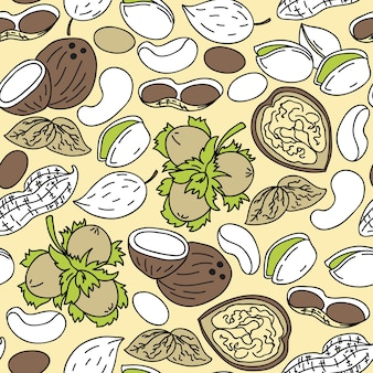 Hand drawn seamless pattern with nuts