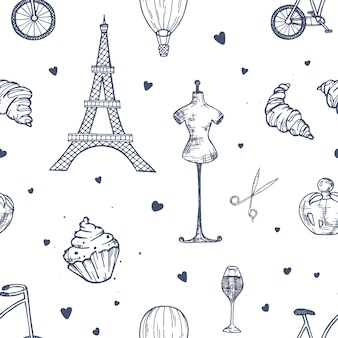Hand drawn seamless pattern with paris and france symbols