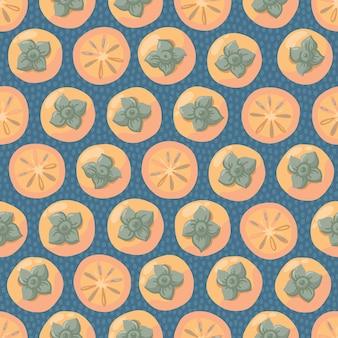 柿と手描きのシームレスなパターン。