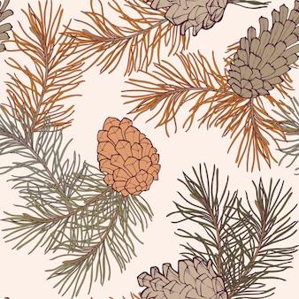 Рисованной бесшовные модели с сосновыми шишками и ветвями хвойного вечнозеленого дерева