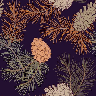 Hand-drawn seamless pattern with pine cones and branches of coniferous evergreen tree