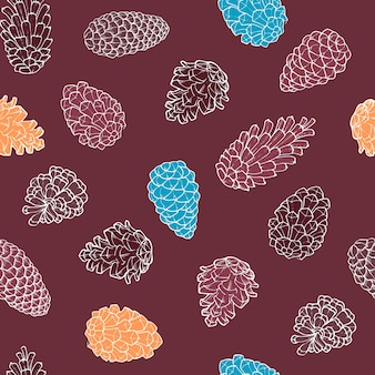 Hand-drawn seamless pattern with pine cones of coniferous evergreen tree