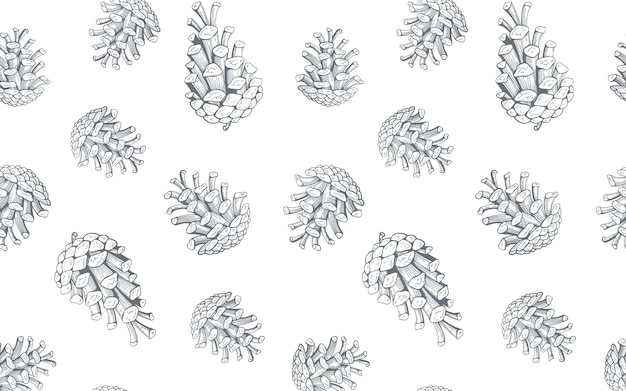 Hand drawn seamless pattern with pine cones.