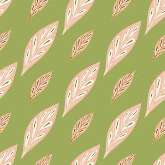 Ручной обращается бесшовные модели с розовыми геометрическими формами листьев