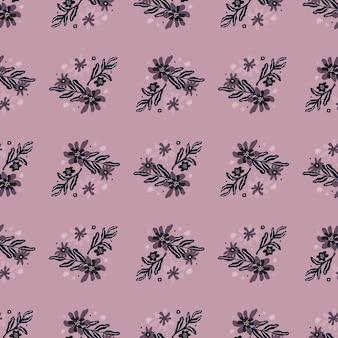 보라색 색된 꽃으로 손으로 그려진 된 완벽 한 패턴입니다.