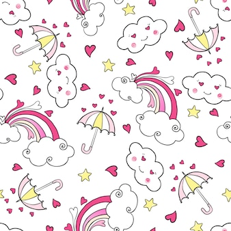 Hand drawn seamless pattern with rainbow, clouds, umbrella and hearts.