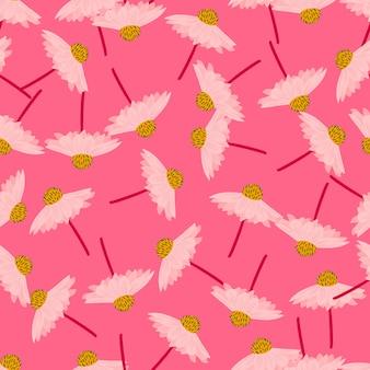 ランダムなgeberaの花と手描きのシームレスなパターン