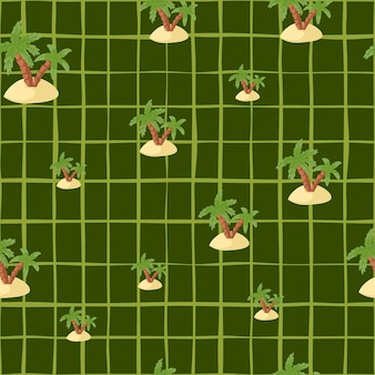 Hand drawn seamless pattern with random island and palm silhouettes print. green chequered background.