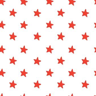 白地に赤い星と手描きのシームレスパターン