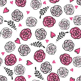 Hand drawn seamless pattern with roses and hearts.