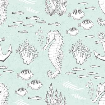 Рисованной бесшовные модели с морскими коньками и рыбами
