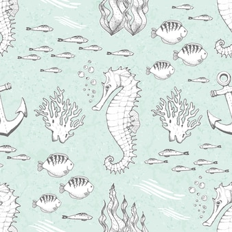 Hand drawn seamless pattern with seahorses and fishes