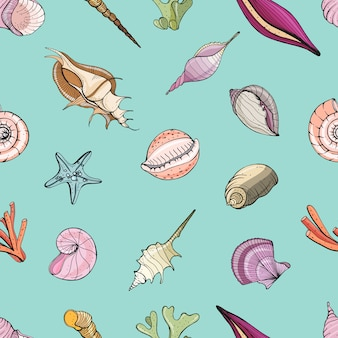 Hand drawn seamless pattern with seashells.  colorful background.