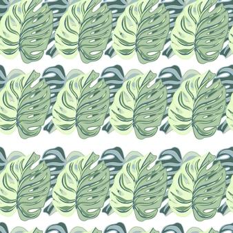 シンプルな緑の葉のモンステラ飾りと手描きのシームレスなパターン。孤立した自然の装飾。季節のテキスタイルプリント、ファブリック、バナー、背景、壁紙のベクトルイラスト。