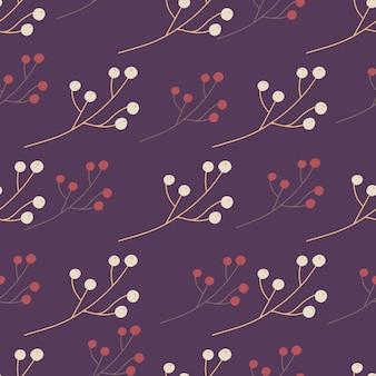 シンプルなスタイルのベリー飾りと手描きのシームレスなパターン