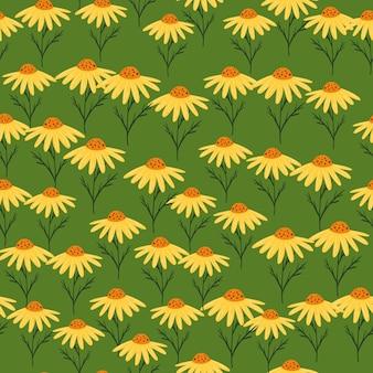 シンプルなスタイルの黄色のランダムな花の形をした手描きのシームレスなパターン