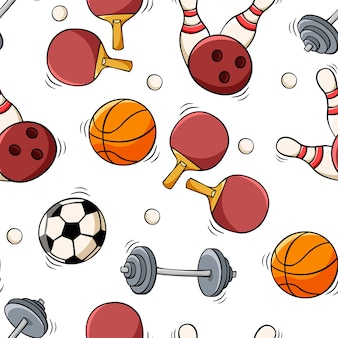 Hand drawn seamless pattern with sports equipment in doodle sketch style
