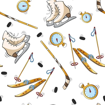 Hand drawn seamless pattern with stopwatch snow ski and stick skates in doodle sketch style