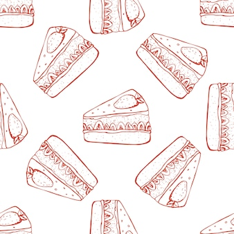Hand drawn seamless pattern with strawberry cake