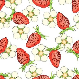 イチゴと手描きのシームレスパターン。