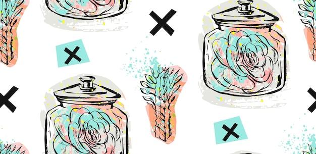 ガラスの瓶に多肉植物とパステルカラーの十字架が分離された手描きのシームレスなパターン