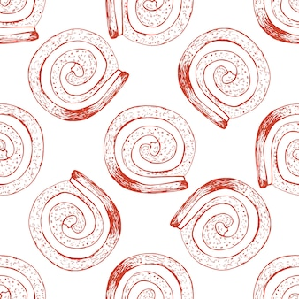 Hand drawn seamless pattern with sweet roll